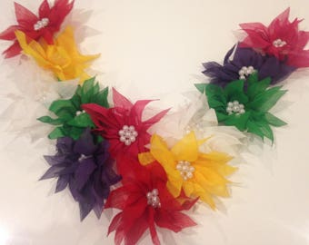 Applique collar with colorful flowers and pearls