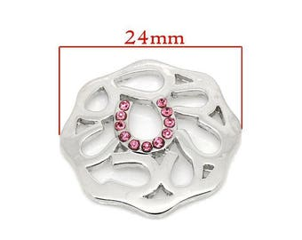 Pink floating disc charms 24x23mm form Horseshoe with Rhinestones.