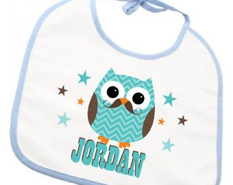 """OWL MOUSTACH"" personalized bib"