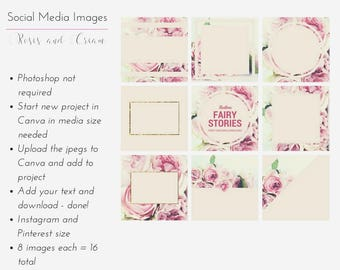 Instagram & Pinterest Template Pack - Roses and Cream  8 social media template pack