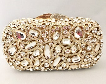Gold Crystal Bridal Wedding, Party, Prom, Formal Event, Evening Clutch Bag