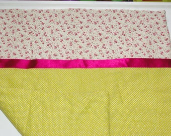 Polka dot white on lime green and pink small baby blanket