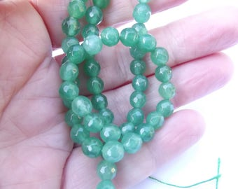 62 round faceted agate dyed green 6 mm CHEBAR-534