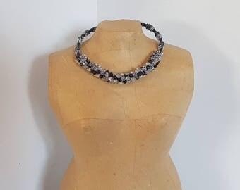 Round beads and wire Choker