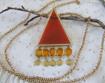 Orange triangle long necklace with resin and set glass beads