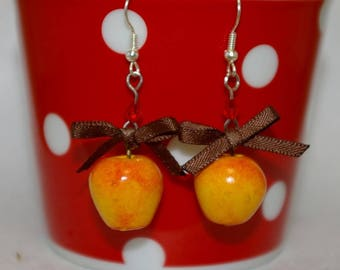 Realistic Apple polymer clay earring