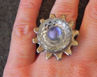 purple blue cabochon and adjustable button ring