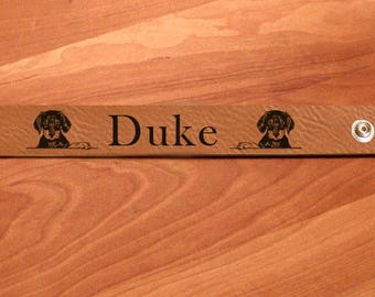 Personalized Engraved Leatherette Bracelet - Doberman Designs