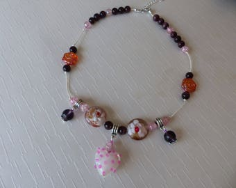 Fancy short necklace neck heart and Murano beads