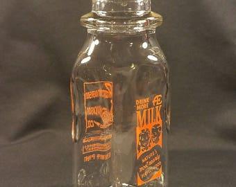 Vintage Anderson Erickson Milk Bottle, 1/2 Pint; Des Moines, Iowa; Vintage Milk Bottle Collector, Country Theme