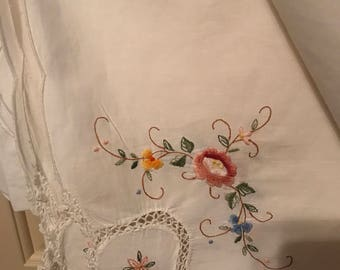Vintage Table Cloth, Embroidered Flowers, 100% Cotton Sq. 54x54