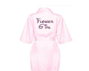 Personalised Pink Flower Girl satin Robe - Glitter Print Bridal Dressing Gown -Childrens Satin Flower Girl Bridal Party Robe - Wedding