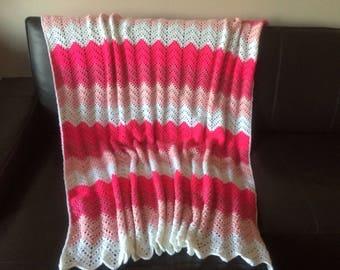 Pink Chevron Crochet Blanket