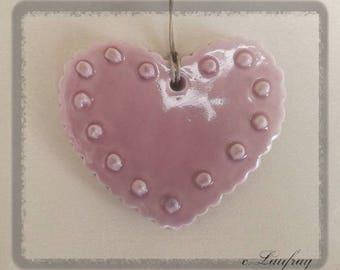 Glazed ceramic, Scalloped edges, polka dot embossed heart, old rose