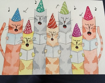 Whimsical water color card, handmade, one of a kind.