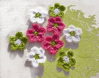 set of 9 flowers fuchsia, lime green and white crochet cotton