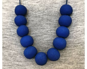 Royal Blue Beaded Polymer Clay Necklace