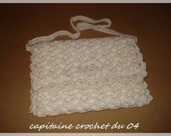 handmade shoulder bag, pouch, ecru cotton robe for ceremony