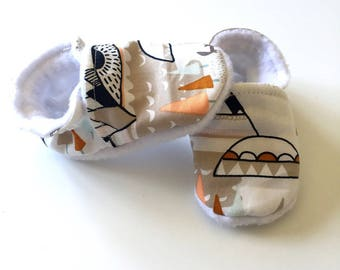 Flexible was Indian cotton and fleece baby booties from birth or 18