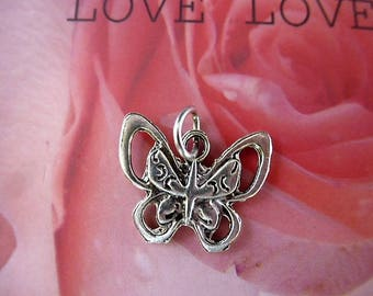 Tibetan silver ring with butterfly charm