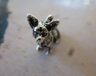 Dog charm ears 3-d antique Silver Pendant