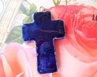 handmade Midnight blue color glazed ceramic pendant cross