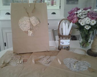 "Set of four ""Post"" kraft gift bags"
