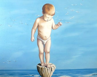 water, sea, ocean painting, oil, child, surreal, blue