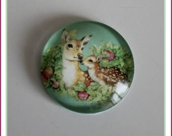 1 cabochon glass round 25 mm illustrated DOE and fawn