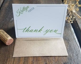 Personalized Note Cards, Modern Folded Note Cards, Personalized Thank You Cards, Personalized stationary set - Custom Bridesmaid gift