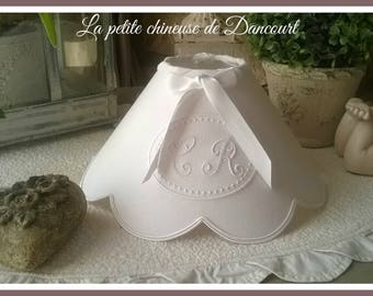 Lamp shade with monograms Marie-Louise