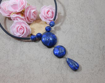 Lapis lazuli necklace, lapis lazuli pendant, blue lapis, long lapis necklace, faux lapis lazuli polymer clay,blue faux stone pendant