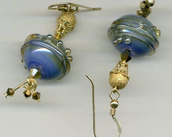 """Saturn and stars"" 14kt gold plated earrings"