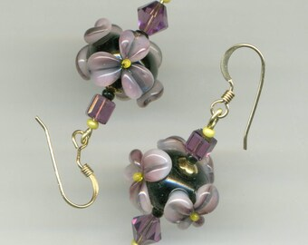 "* Artisanales ""Color Amethyst"" 14KT gold plated earrings-"