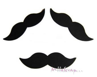 Set of 3 die cut mustaches paper embellishment scrapbooking card *.