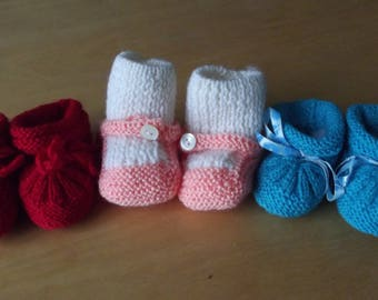 set of three pairs of slippers woolen baby 0 / 3 months