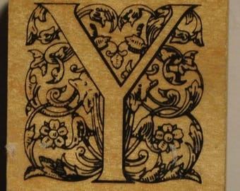 Stamp - Alphabet - wood letter Y