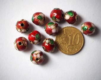 Set of 10 metal beads 10mm round linked red burgundy with gold wire and flowers.