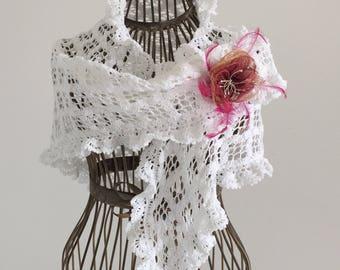 White Mercerized cotton shawl/tip