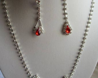 NECKLACE / EARRINGS rhinestones and Red cubic zirconia drops gorgeous Choker out wedding set