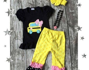 Girls School Bus Polka dot outfit