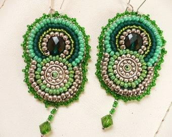 Earrings green, embroidered earrings, beadwork
