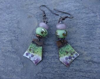 "Earrings ""spring bubbles"" poetic - enameled plaques, beads, Lampwork, white - green - purple tones."