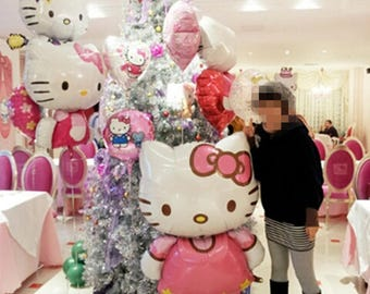 114*70cm Large Size Hello Kitty Cat Foil Balloons Cartoon Birthday Wedding Decoration Globos Party Inflatable Air Ballons