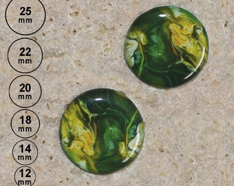 2 cabochons print painting effect, green, 25 mm, 22 mm, 20 mm, 18 mm, 14 mm, 12 mm