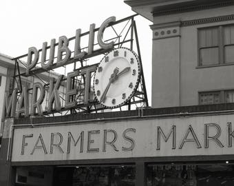 Pike Place Market Photo, Seattle Photo, Seattle Print, black and white
