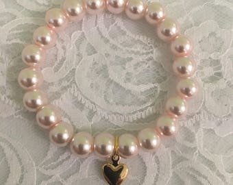 Baby pink girls beaded bracelet
