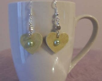 Earrings, heart, paper, cabochons, silver Pearl