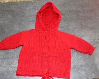 6 months Red Hooded vest