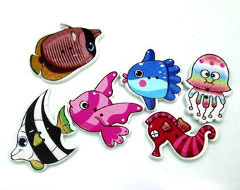 5 buttons wood fish, Octopus, seahorse